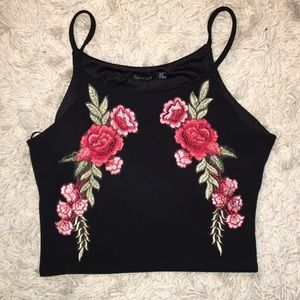 Rose Embroidered Tank Top